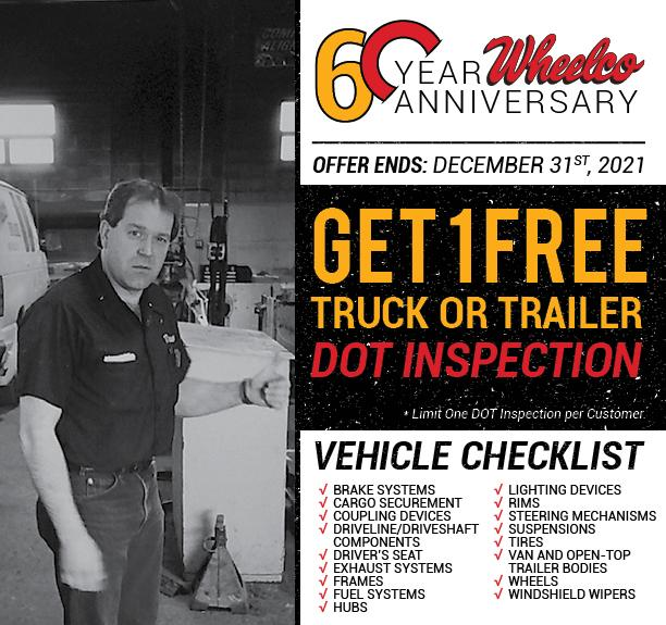 Get a FREE DOT Inspection on one truck or trailer! Coupon available at Customer Appreciation Events.
